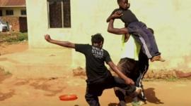 Children practicing stunts