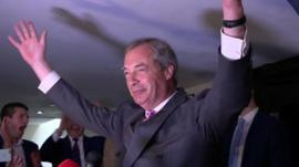 Nigel Farage with hands in the air