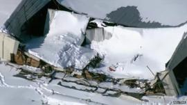 Airplane hangar roof collapse