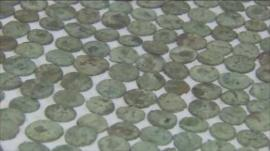 Some of the Roman coins being cleaned