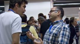 Particle physicists at International Conference on High Energy Physics, Paris (Barbara Warmbein)