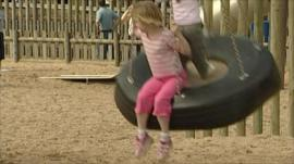 Child on tyre swing