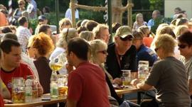Drinking in a Munich biergarten