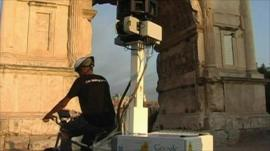 Google bike capturing images of ancient Rome