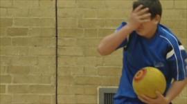 A dodgeball player
