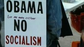 Republican supporter holding anti-Obama placard