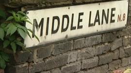 Middle Lane street sign