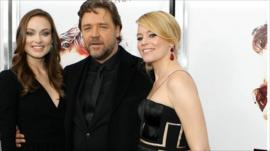Olivia Wilde, Russell Crowe and Elizabeth Banks