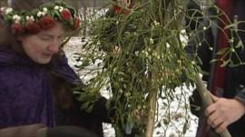 Druids with mistletoe