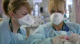 Specialist swine flu unit at Wythenshawe Hospital in Manchester