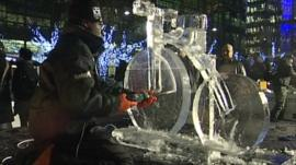 Artist creates ice sculpture