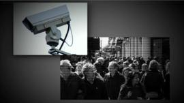 Graphic of CCTV camera and people in the street