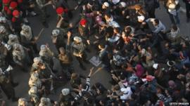 Army and protesters