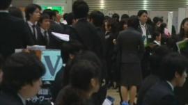Japanese students at recruitment fair