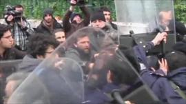 Human rights protesters clash with authorities in Greece