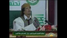 Gaddafi addresses supporters in Tripoli
