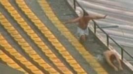 Brazilian football fans swimming in Sao Paulo stadium