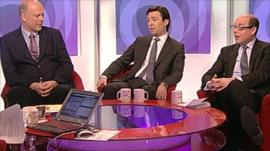 Chris Grayling, Andy Burnham and Nick Robinson
