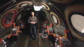 The BBC's Richard Scott inside the Virgin Galactic spaceship