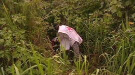 Red Cross worker in long grass