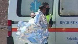 A survivor receiving medical attention