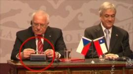 Czech President Vaclav Klaus sitting next to his host Chile President Sebastian Pinera
