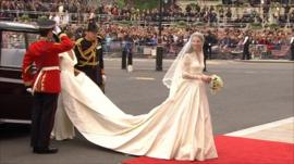 The bride in a dress designed by Sarah Burton