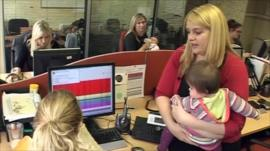 Women with their babies at work