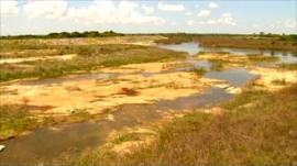 Empty reservoir in Cuba