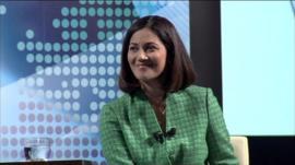 Mishal Husain at the BBC World Debate in Jakarta