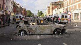 A burnt out car in Tottenham