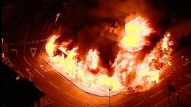 Shops on fire in Croydon