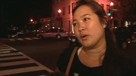 Woman outside Apple store in Washington DC