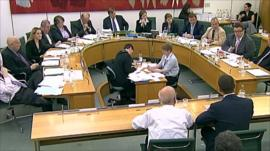 MPs listening to testimony of Rupert and James Murdoch