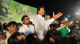 Imran Khan at an anti-government rally in Pakistan in August