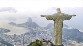 The famous Christ statue overlooks Rio de Janeiro
