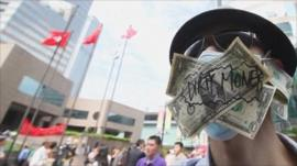 A protester in Hong Kong