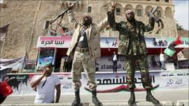 Fighters celebrate in Tripoli