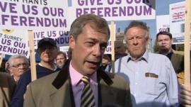 UK Independence Party leader Nigel Farage at pro-referendum demonstration