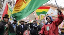 Indigenous people of the Isiboro Secure Territory rally in La Paz
