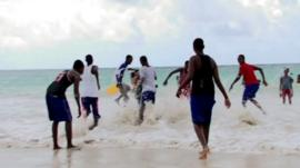 Somalis on the beach in Mogadishu
