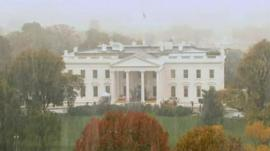 Snow falls on the White House
