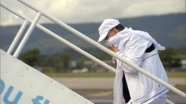 Abdelbaset al-Megrahi boarding a plane