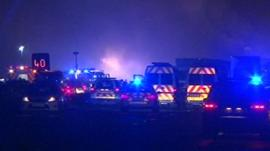 Emergency service vehicles on M5