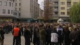 Crowd of people at rally in Banja Koviljaca