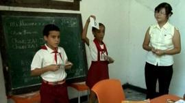 Primary school Mandarin Chinese lesson in Cuba