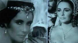 Elizabeth Taylor wearing a pearl necklace