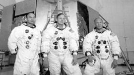 Apollo 11 astronauts Mike Collins (left), Neil Armstrong (centre), and Edwin