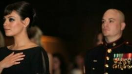 Mila Kunis with Marine Sergeant Scott Moore