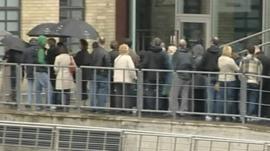People queueing to see Turner Prize